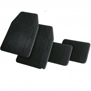 Wheels N Bits Universal and Semi Tailored 4pc Carpet Cloth Sport Deep Piled Car Mats Front Rear Plain Black Thick Heel for FSO