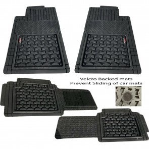 Wheels N Bits Rubber PVC Car Mats Trim to fit Wider Rear Velcro None Slip Back for Daewoo