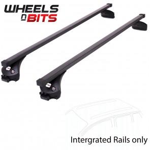 Wheels N Bits Integrated Railing Roof Rack To Fit Audi A6 Avant, Estate 5 Door 2011 Onwards 120cm Steel Bar with Locking End Caps