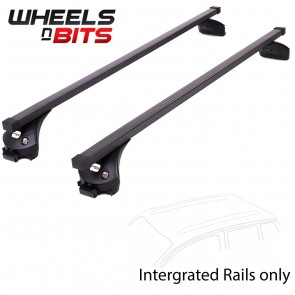 Wheels N Bits Integrated Railing Roof Rack To Fit Volkswagen Touran MPV 5 Door 2015 Onwards 120cm Steel Bar with Locking End Caps