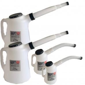 2 pack off 1 & 5 L Litre Measuring Jug With Flexi Spout & Lid Fluid Fuel Oil Petrol Diesel